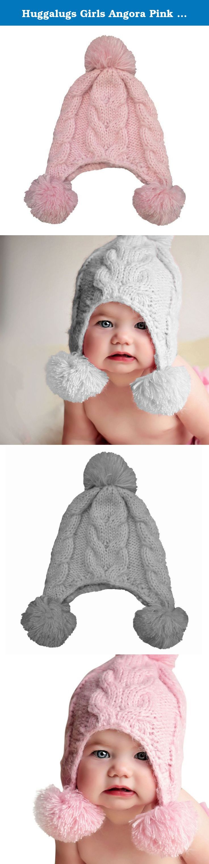 Huggalugs Girls Angora Pink Fizz Pom Pom Beanie Hat Large (2-6yr). Incredibly soft cable knit beanie in glacier grey has fluffy pom pom accent on each earflap and at the top. So incredibly cute for any little diva.