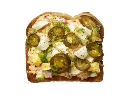 Spicy Pimiento Cheese (No. 10) : Spread 4 slices toasted white bread with pimiento cheese spread. Top with chopped hard-boiled eggs and sliced pickled jalapenos and scallions; season with salt and pepper.
