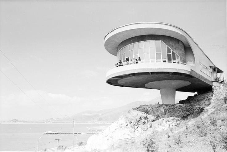 Writers Union Recreational Facility, dining room (Sevan Peninsula, Armenia). Architect: Gevorg Kochar (Yerevanproekt), 1965-1969