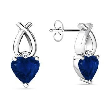 Angara Heart Shaped Blue Sapphire Ribbon Earrings in Platinum pSbRF