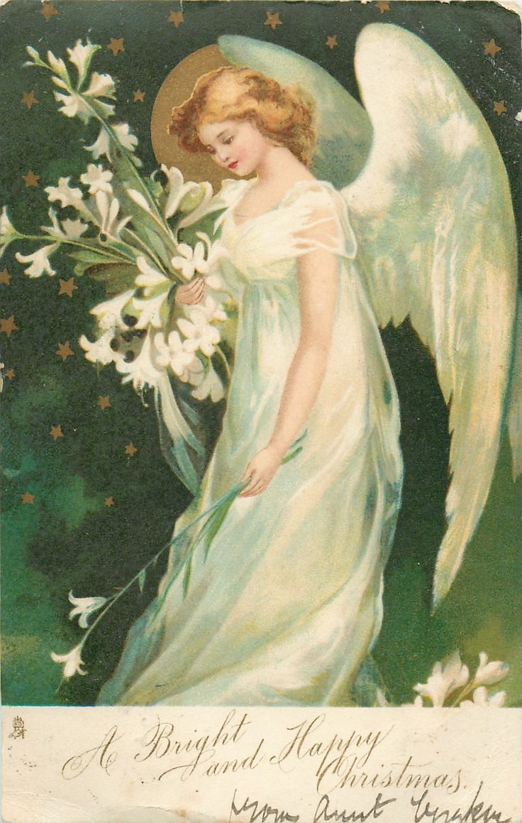 A BRIGHT AND HAPPY CHRISTMAS angel holds Easter lilies ...