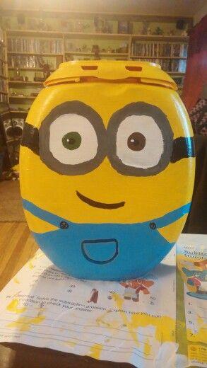Bob the Minion Valentine's Day box made from tide pod container