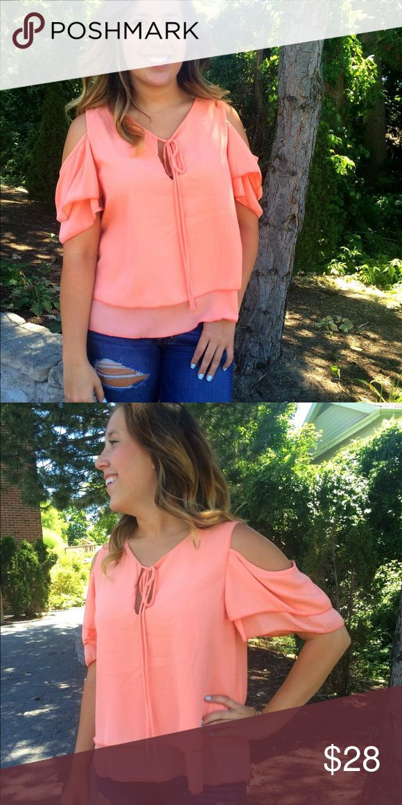 Georgia Peach Cold Shoulder Top Sweet like a Georgia peach. This top is so simple and cute, it can be styled with jeans or shorts! Tops Blouses