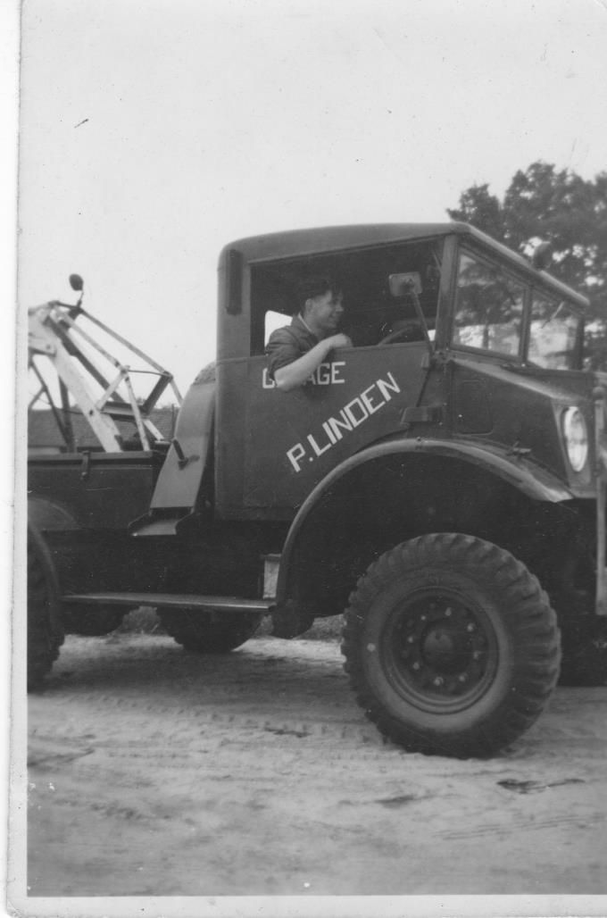 Someren Takelwagen garage Linden 17 jarige chauffeur Jo Gehem werkzaam van aug.1945 tot nov.1951