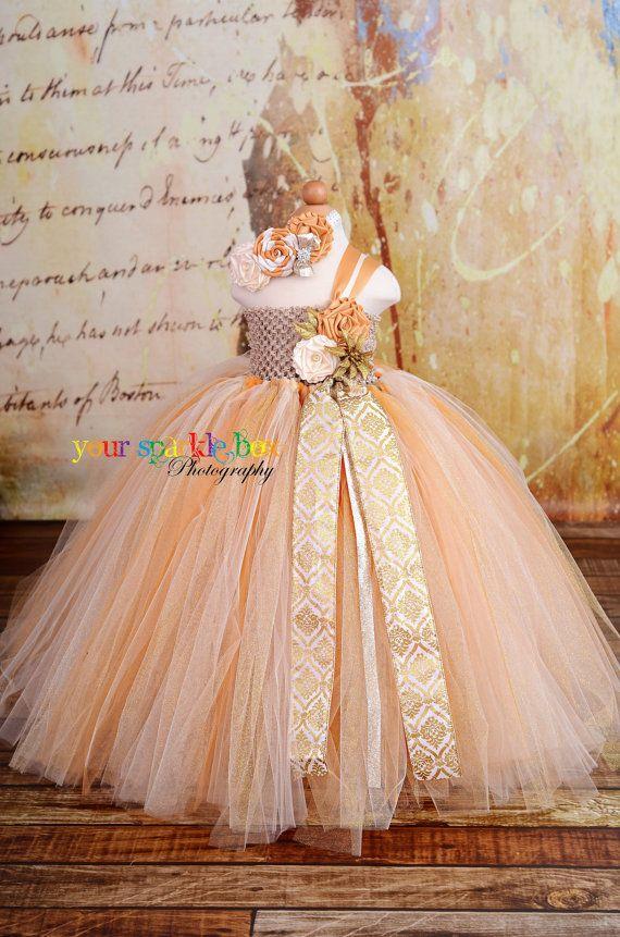 Gold Dust Glitter Tutu dress flower girl ivory champagne gold rosettes nb-4t