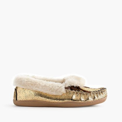 The coziest cold-weather style, with a thick faux-shearling lining, traditional moccasin details and slip-proof rubber soles—now in (very giftable) crackled metallic suede. <ul><li>Half sizes order up.</li><li>Suede upper.</li><li>Faux-shearling lining.</li><li>Rubber sole.</li><li>Import.</li></ul>