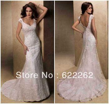 Elegant fashion mermaid v-neck spaghetti straps sweep train white lace low back wedding gowns bridal dresses 2013 discount