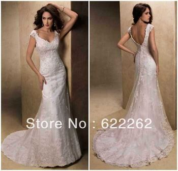 Elegant fashion mermaid v-neck spaghetti straps sweep train white lace low back wedding gowns bridal dresses 2013 discount