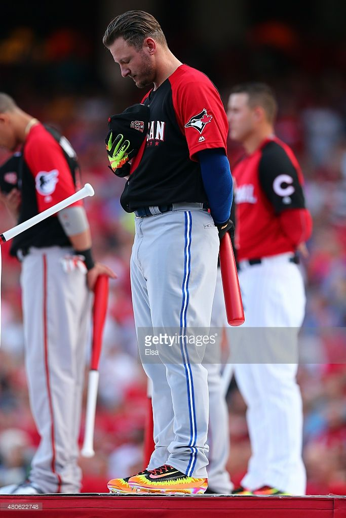 American League All-Star Josh Donaldson #20 of the Toronto Blue Jays stands during the national anthem prior to the Gillette Home Run Derby presented by Head & Shoulders at the Great American Ball Park on July 13, 2015 in Cincinnati, Ohio.