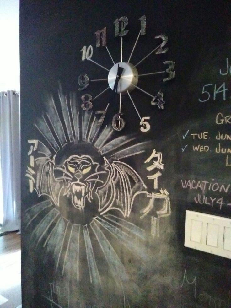 Chalk wall in kitchen.