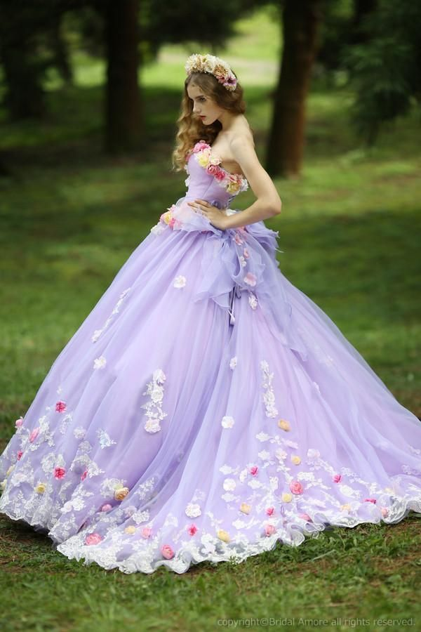 Let charming coloured wedding dresses on DHgate.com get your heart. Besides, halter wedding dresses and low back wedding dresses are also winners.  Custom Charming 2015 New Spring Romantic Light Purple Wedding Dress for Bridal Ball Gown With Hand Made Flower Neck And Lace Hem belong to you and crystaldress2013 can cheer you up.