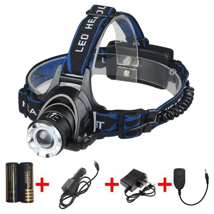 LED Headlamp with Rechargeable Batteries and Car Charger and Ac Charger and USB Cable Adjustable Zoomable 3 Modes Super Bright Headlight Hands Free Flashlight *** Want additional info? Click on the image.