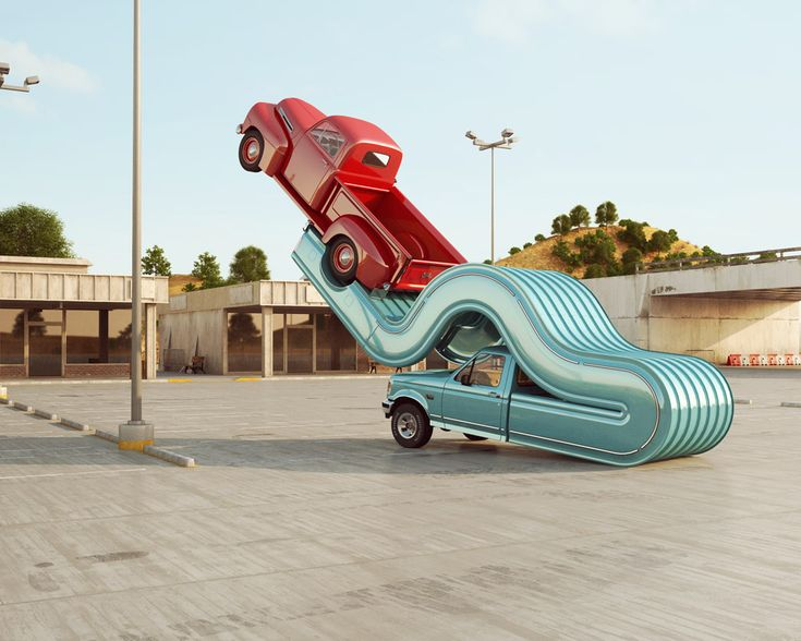 UK- based designer Chris LaBrooy made this cool series of renders showing colorful trucks bending beyond the laws of physics. He called it Tales of Auto Elasticity and it's inspired by the road trips through the Californian deserts.