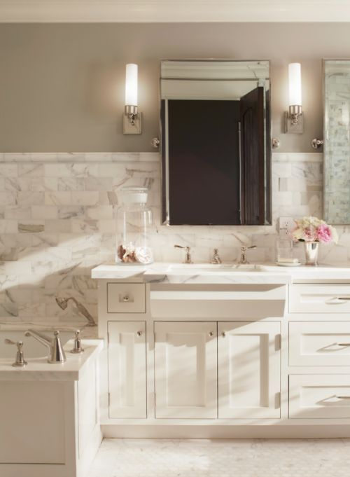Sources Sconces: Astor Sconce (Ilex Lighting) Mirrors: Bistro Rectangular  Pivot Mirror (