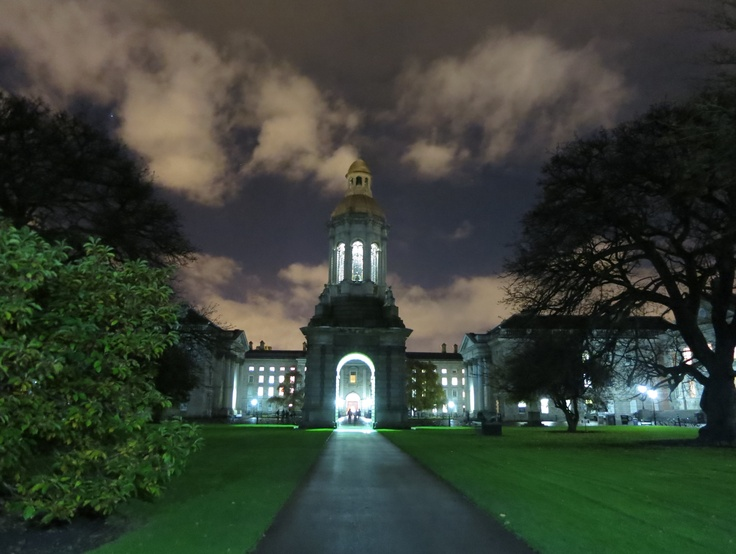 Night shot on the campus of Trinity College in Dublin, Ireland