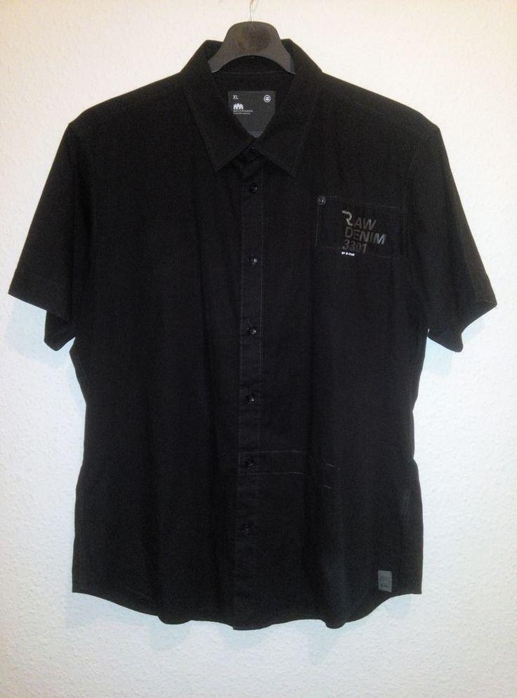 G Star Raw Mens Casual Shirt Short Sleeve Black 100% Cotton Size XL