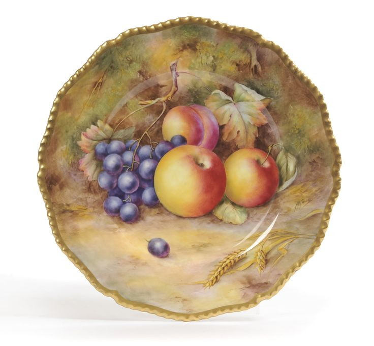 Tennants Auctioneers: A Royal Worcester Porcelain Fruit Painted Dessert Plate