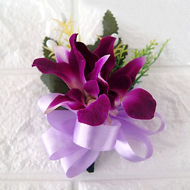 Wedding+Flowers+Free-form+Lilies+Boutonnieres+Wedding+Party/+Evening+Polyester+Purple+Satin+–+USD+$+5.99