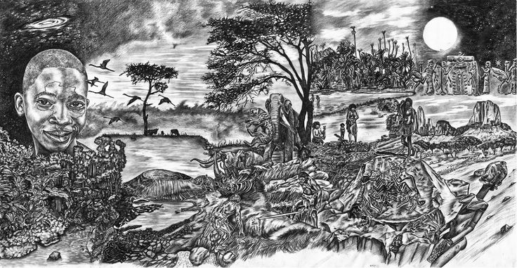 The African American Experience - Panel 1: Graphite on Paper by #artist Gonz Jove #fineart http://internationalartnetwork.com/products/TheafricanAmericanExperiancepanelI.html