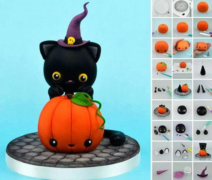 Fondant Katze mit Kürbis http://crumbavenue.com/tutorials/halloween-pumpkin-and-a-cat