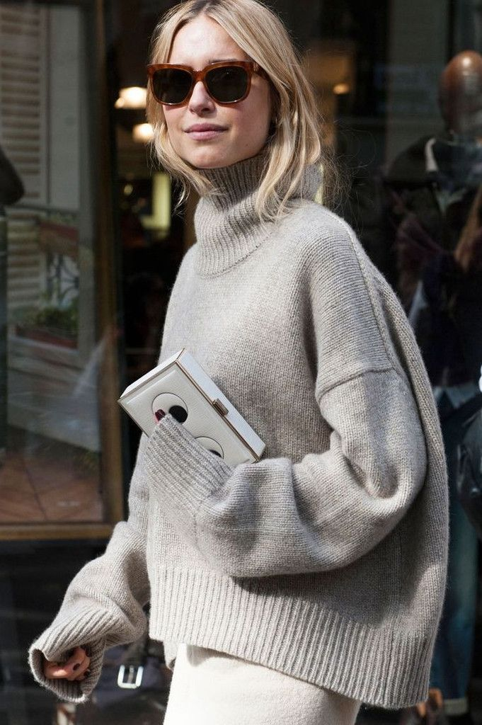 Cream Soft Knit Oversized Crop Turtleneck Sweater