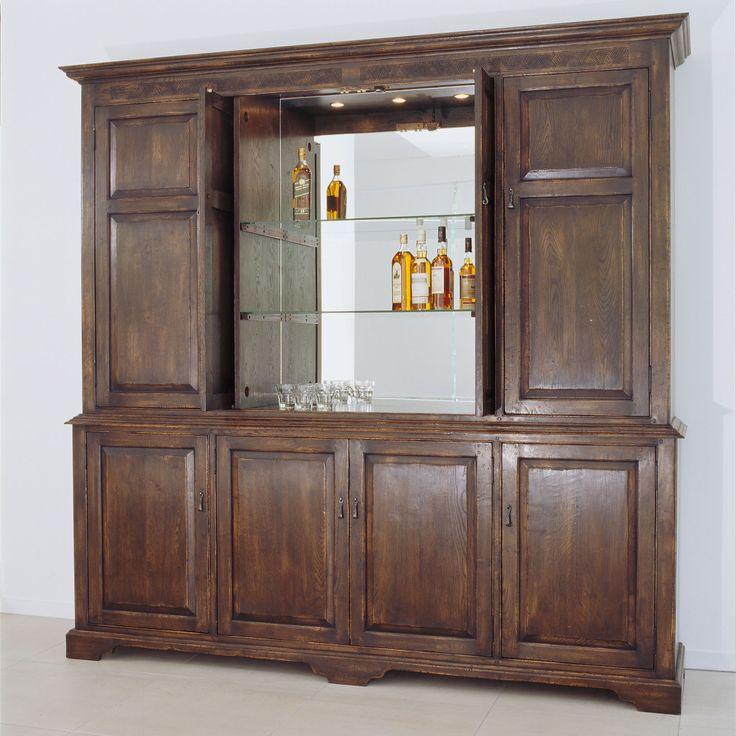 Hampton Liquor Cabinet    French Oak    Retractable Doors (Open)
