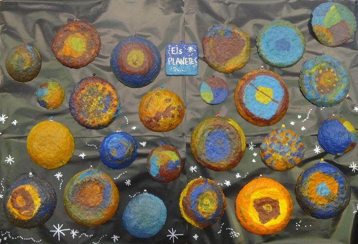 Planetes fets amb paper matxé d'oueres triturades P5 projectes