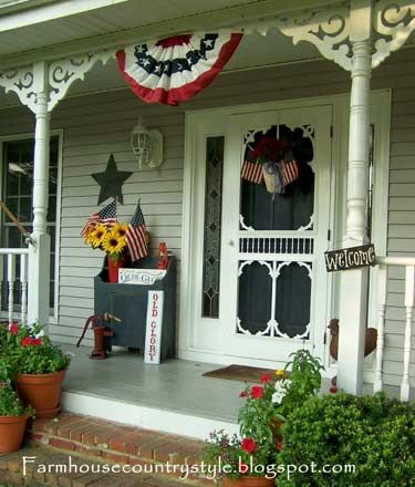 Perfect country front porch.  That screen door is a must!