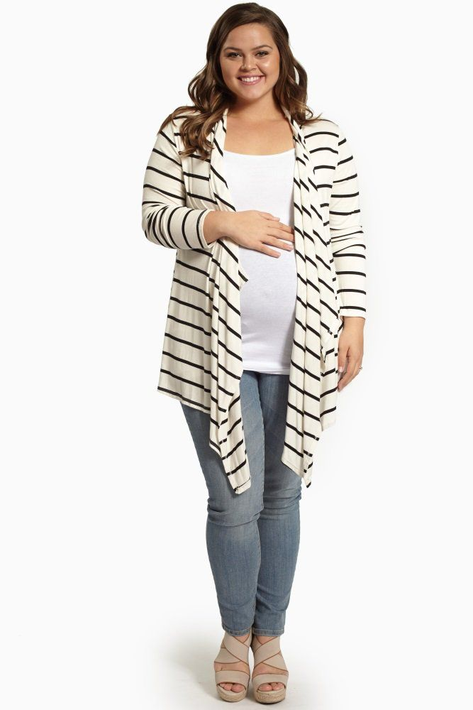 Add a classic statement accent over any look with this striped button back maternity cardigan.
