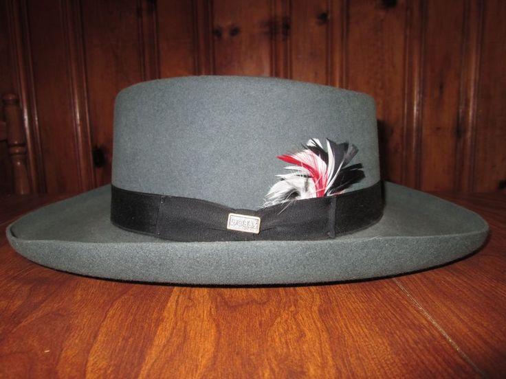 "vintage DOBBS hat MAHONEY MADE IN USA long oval 3"" BRIM MEN'S SIZE 7  3/8 #DOBBS #FedoraTrilby"