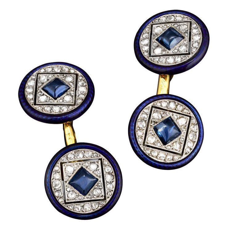 CARTIER PARIS Diamond & Sapphire Cufflinks