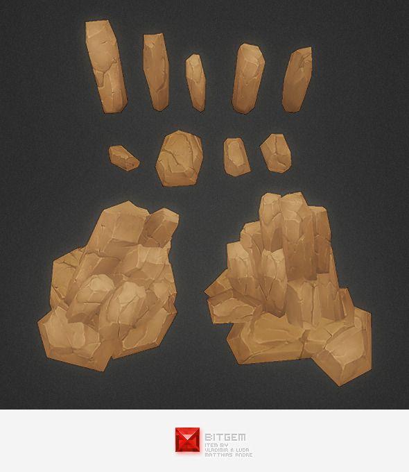Low Poly Rock Formation 01 - 3DOcean Item for Sale | Moddeling in