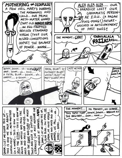 "A page from David Moser's ""Metaculture Comics"" (1979), reprinted in Douglas Hofstadter's ""Metamagical Themas"""