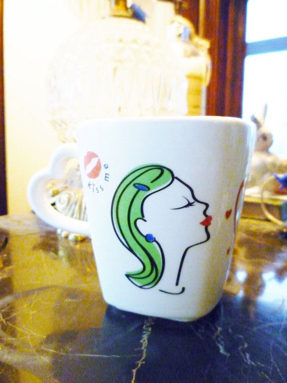 Vintage mug Unused Retro Lips and kissing Girl, Mid Century advertising Close up ToothPaste Coffe Mug on Etsy, $15.00