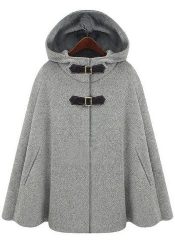 * Types :Capes  * Color :Grey  * Material :Woolen Polyester  * Collar :Hooded  * Style :Star Stalker  * Placket :Single Breasted  * Length :Short  * Season :Autumn  * Shoulder(cm) :S:free,M:free,L:free  * Bust(cm) :Free  * Length(cm) :S:69CM,M:70CM,L:71CM  * Size available :S,M,L