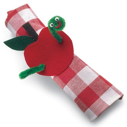 Apple craft: This is a napkin ring, but you could also roll up students' work and send it home with their apple holder.
