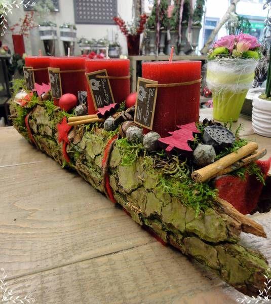 Fries 50cm, Adventskranz, Rinde, Rot von Gerhardt-Blumen auf DaWanda.com