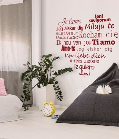 """Love is in the air! Create a lovely interior with the heart-shaped wall sticker / decal """"Je t'aime, Ti amo, Amo-te..."""""""