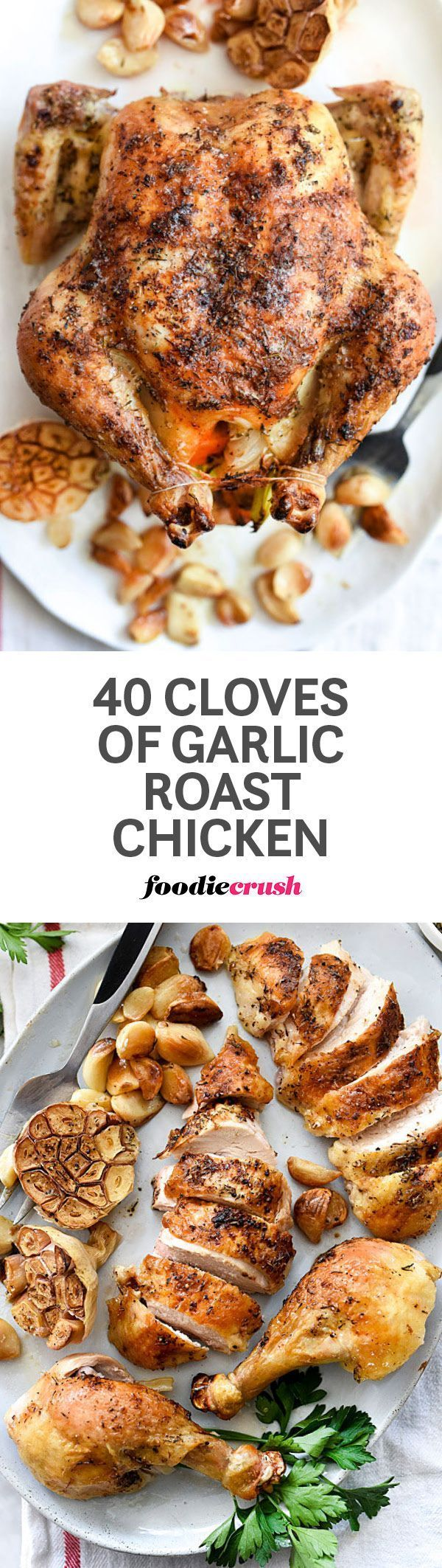 Garlic becomes soft and sweet when roasted alongside this whole roasted chicken, infusing a mellowed garlic flavor for everyone's favorite chicken dinner | http://foodiecrush.com #garlic #chicken #roastchicken