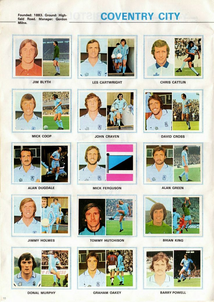 Coventry City team stickers for 1976-77.