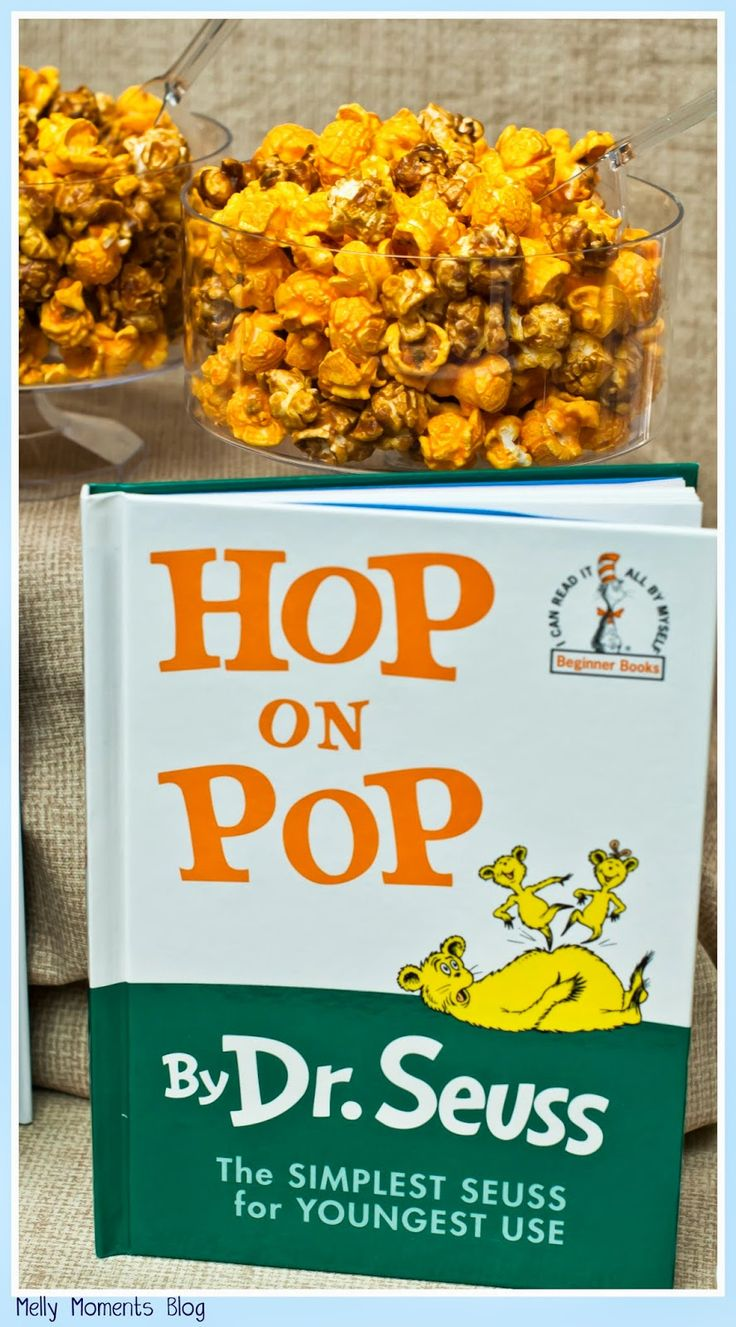 Dr. Seuss' Hop on Pop, and many other favorites, help create this storybook themed baby shower!  A gender neutral party with DIY decorations, free printables, and classic children's books to go along with a variety of tasty sweets and snacks!