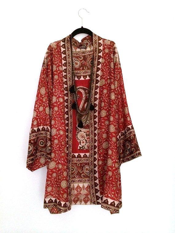 Red silk kimono  Bibi Luxe Etsy