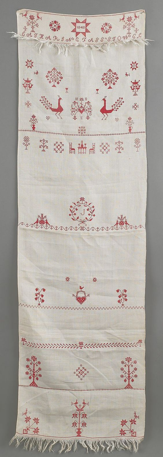 "Realized Price: $ 948    Pennsylvania silk embroidered show towel, dated 1848, inscribed Catherine Fass Stowe, 60"" x 17"".:"