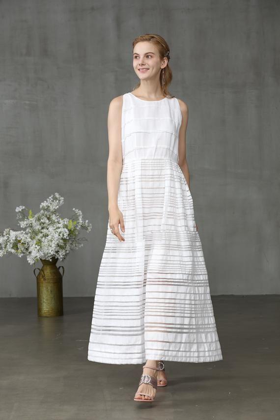 White Dress Linen Dress Summer Dress Linen Jumper Minimal Etsy In 2020 Linen Dresses Summer Dresses Pretty White Dresses