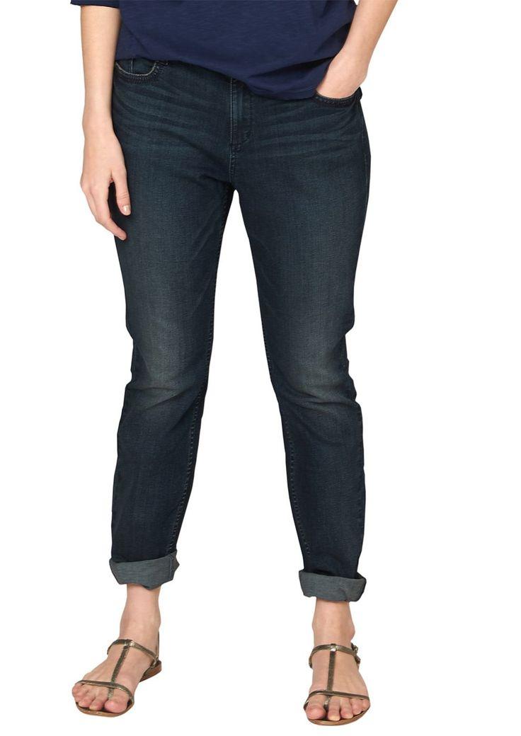 """Jeans Anschmiegsame Jeans mit Sitzfalten-Effekten in der Waschung. Klassische 5-Pocket-Form mit Reißverschluss. Figurbetonte Passform """"Kurvig"""" mit leicht vertieftem Bund und extra schmalem Bein für eine ausgeprägte Hüfte, einen runden Po und stärkere Oberschenkel. Extra weiche, elastische Denim-Qualität aus Baumwollmix. Dank der ausgewogenen Materialmischung ist die Hose angenehm leicht und sch..."""
