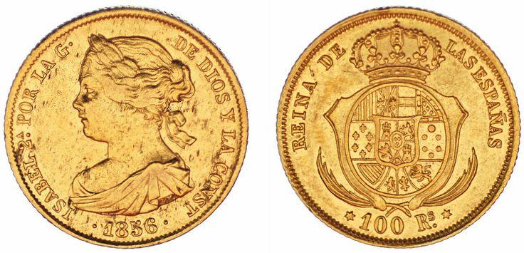 100 GOLD REALES/ORO. ISABELLA II-ISABEL II. MADRID 1856. VF+/MBC+. INTERESANTE.