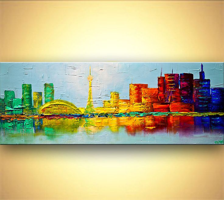 Cityscape painting - Toronto skyline painting original abstract city painting #7595