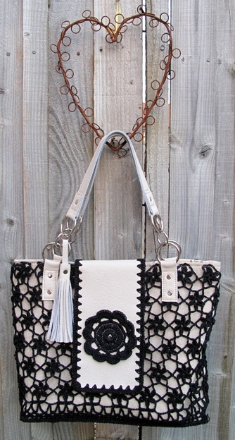 Black crochet flowers and soft cream leather handbag