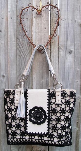 Black crochet flowers and soft cream leather handbag