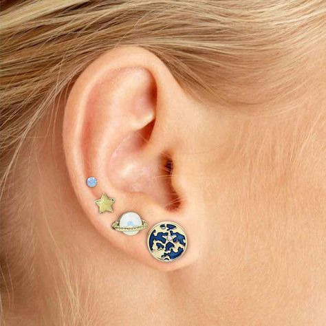 Planetary System Earrings Set with Earth, Moon, Star and Saturn